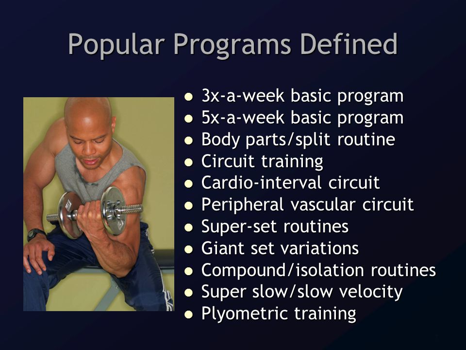 7 Popular Programs Defined 3x-a-week basic program 3x-a-week basic program 5x-a-week basic program 5x-a-week basic program Body parts/split routine Body parts/split routine Circuit training Circuit training Cardio-interval circuit Cardio-interval circuit Peripheral vascular circuit Peripheral vascular circuit Super-set routines Super-set routines Giant set variations Giant set variations Compound/isolation routines Compound/isolation routines Super slow/slow velocity Super slow/slow velocity Plyometric training Plyometric training