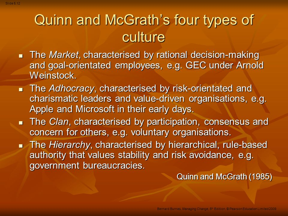 Slide 5.12 Bernard Burnes, Managing Change, 5 th Edition, © Pearson Education Limited 2009 Quinn and McGrath's four types of culture The Market, chara
