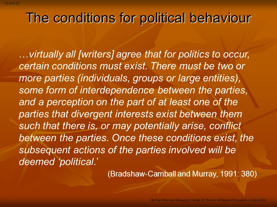 Slide 5.32 Bernard Burnes, Managing Change, 5 th Edition, © Pearson Education Limited 2009 …virtually all [writers] agree that for politics to occur,