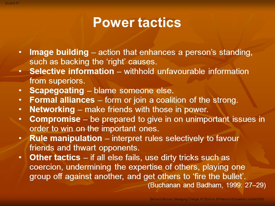 Slide 5.37 Bernard Burnes, Managing Change, 5 th Edition, © Pearson Education Limited 2009 Image building – action that enhances a person's standing,