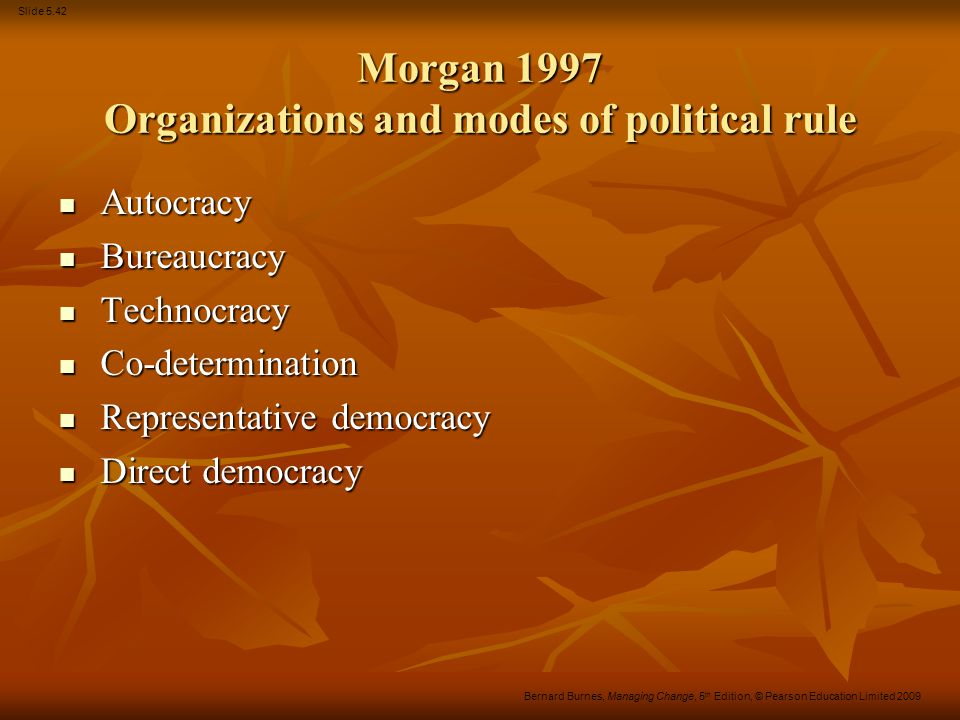 Slide 5.42 Bernard Burnes, Managing Change, 5 th Edition, © Pearson Education Limited 2009 Morgan 1997 Organizations and modes of political rule Autoc