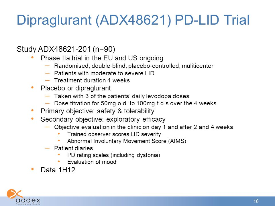 18 Dipraglurant (ADX48621) PD-LID Trial Study ADX48621-201 (n=90) Phase IIa trial in the EU and US ongoing – Randomised, double-blind, placebo-controlled, muliticenter – Patients with moderate to severe LID – Treatment duration 4 weeks Placebo or dipraglurant – Taken with 3 of the patients' daily levodopa doses – Dose titration for 50mg o.d.