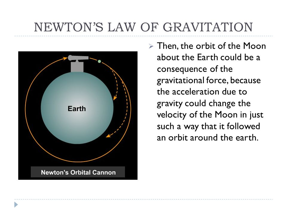 NEWTON'S LAW OF GRAVITATION  Then, the orbit of the Moon about the Earth could be a consequence of the gravitational force, because the acceleration due to gravity could change the velocity of the Moon in just such a way that it followed an orbit around the earth.