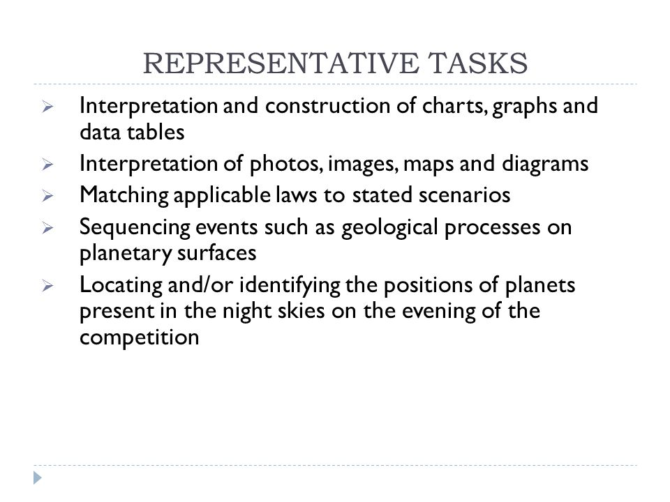 REPRESENTATIVE TASKS  Interpretation and construction of charts, graphs and data tables  Interpretation of photos, images, maps and diagrams  Matching applicable laws to stated scenarios  Sequencing events such as geological processes on planetary surfaces  Locating and/or identifying the positions of planets present in the night skies on the evening of the competition