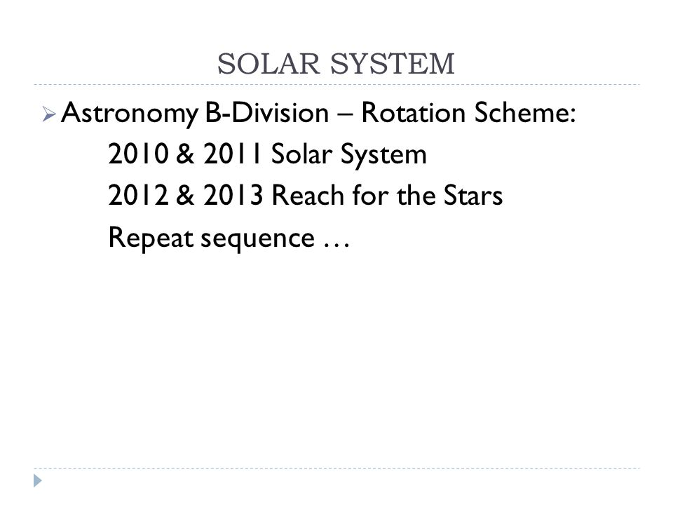 SOLAR SYSTEM  Astronomy B-Division – Rotation Scheme: 2010 & 2011 Solar System 2012 & 2013 Reach for the Stars Repeat sequence …