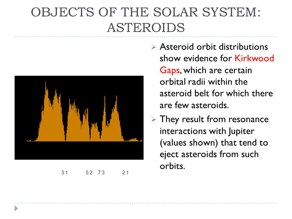 OBJECTS OF THE SOLAR SYSTEM: ASTEROIDS  Asteroid orbit distributions show evidence for Kirkwood Gaps, which are certain orbital radii within the asteroid belt for which there are few asteroids.