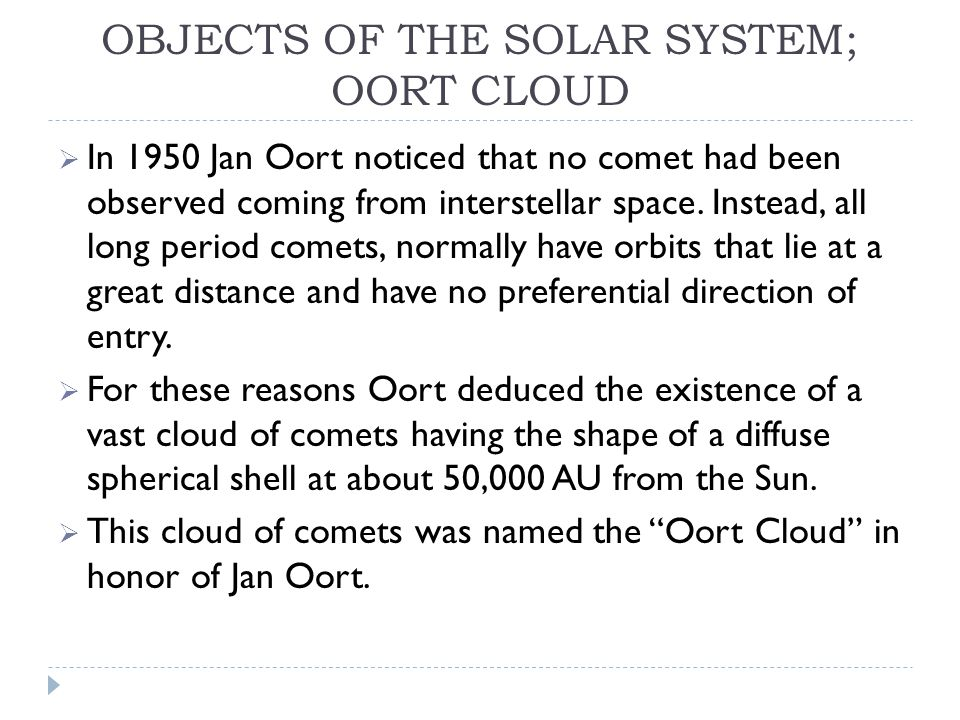 OBJECTS OF THE SOLAR SYSTEM; OORT CLOUD  In 1950 Jan Oort noticed that no comet had been observed coming from interstellar space.