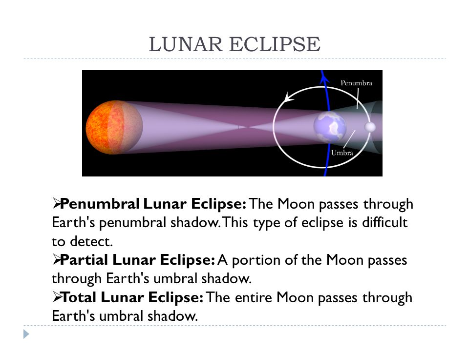 LUNAR ECLIPSE  Penumbral Lunar Eclipse: The Moon passes through Earth s penumbral shadow.