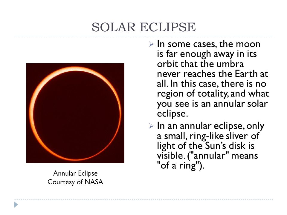 SOLAR ECLIPSE  In some cases, the moon is far enough away in its orbit that the umbra never reaches the Earth at all.