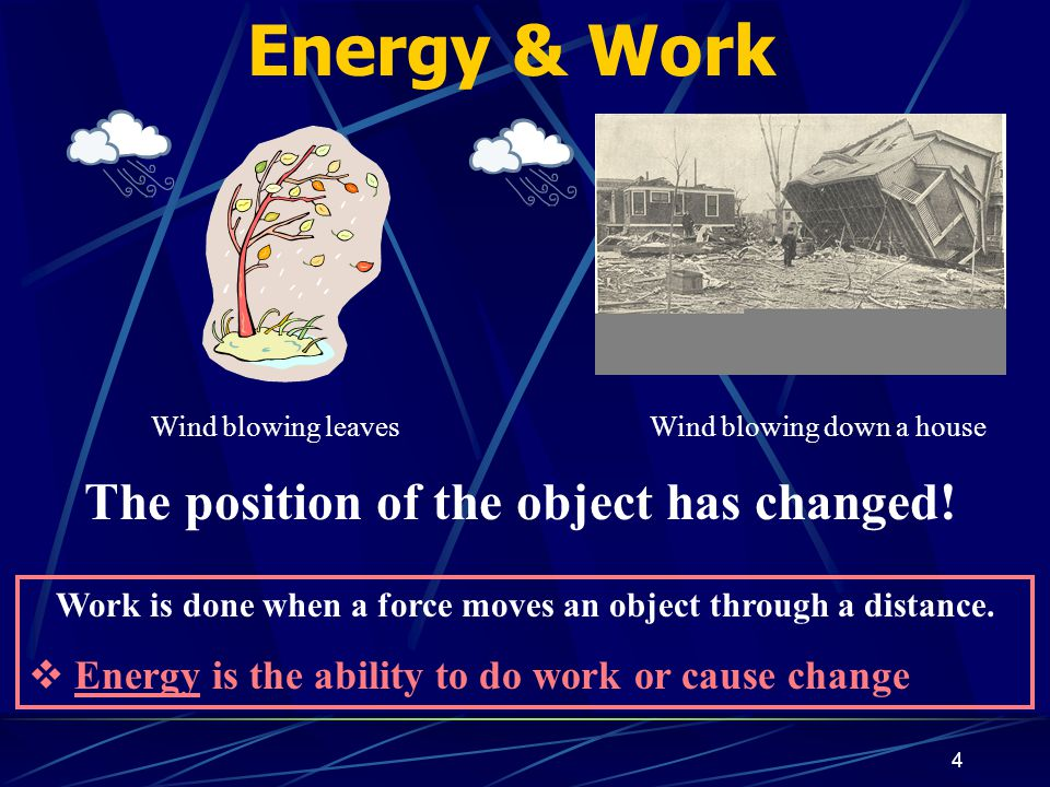 4 Energy & Work Work is done when a force moves an object through a distance.