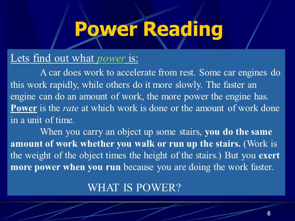 6 Lets find out what power is: A car does work to accelerate from rest.