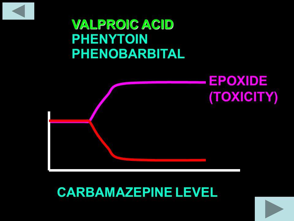 PHENOBARBITAL PHENYTOIN VALPROIC ACID CARBAMAZEPINE LEVEL EPOXIDE (TOXICITY)