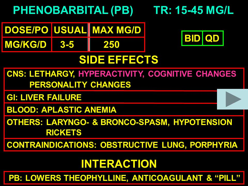 PHENOBARBITAL (PB) DOSE/PO USUAL MAX MG/D MG/KG/D 3-5 250 TR: 15-45 MG/L SIDE EFFECTS CNS: LETHARGY, HYPERACTIVITY, COGNITIVE CHANGES GI: LIVER FAILURE BLOOD: APLASTIC ANEMIA OTHERS: LARYNGO- & BRONCO-SPASM, HYPOTENSION INTERACTION PB: LOWERS THEOPHYLLINE, ANTICOAGULANT & PILL BIDQD CONTRAINDICATIONS: OBSTRUCTIVE LUNG, PORPHYRIA RICKETS PERSONALITY CHANGES