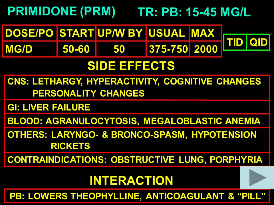 PRIMIDONE (PRM) TR: PB: 15-45 MG/L SIDE EFFECTS CNS: LETHARGY, HYPERACTIVITY, COGNITIVE CHANGES GI: LIVER FAILURE BLOOD: AGRANULOCYTOSIS, MEGALOBLASTIC ANEMIA OTHERS: LARYNGO- & BRONCO-SPASM, HYPOTENSION INTERACTION PB: LOWERS THEOPHYLLINE, ANTICOAGULANT & PILL TIDQID CONTRAINDICATIONS: OBSTRUCTIVE LUNG, PORPHYRIA RICKETS PERSONALITY CHANGES DOSE/PO START UP/W BY USUAL MAX MG/D 50-60 50 375-750 2000
