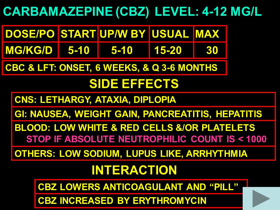 CARBAMAZEPINE (CBZ) DOSE/PO START UP/W BY USUAL MAX MG/KG/D 5-10 5-10 15-20 30 LEVEL: 4-12 MG/L SIDE EFFECTS CNS: LETHARGY, ATAXIA, DIPLOPIA GI: NAUSEA, WEIGHT GAIN, PANCREATITIS, HEPATITIS BLOOD: LOW WHITE & RED CELLS &/OR PLATELETS OTHERS: LOW SODIUM, LUPUS LIKE, ARRHYTHMIA INTERACTION CBZ LOWERS ANTICOAGULANT AND PILL CBZ INCREASED BY ERYTHROMYCIN STOP IF ABSOLUTE NEUTROPHILIC COUNT IS < 1000 CBC & LFT: ONSET, 6 WEEKS, & Q 3-6 MONTHS
