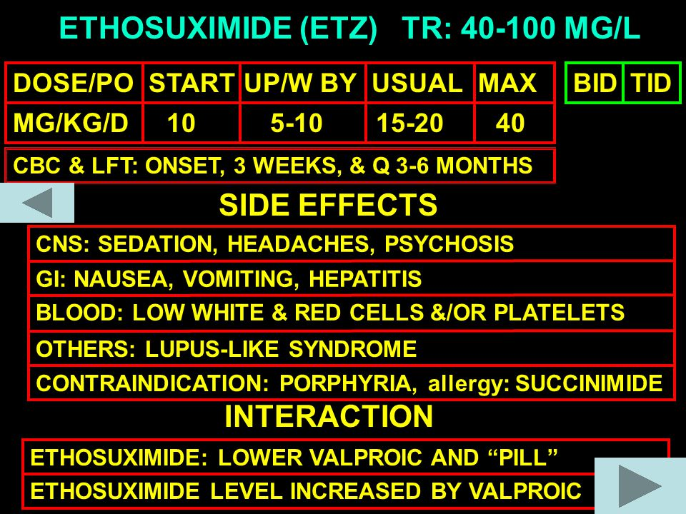 ETHOSUXIMIDE (ETZ) DOSE/PO START UP/W BY USUAL MAX MG/KG/D 10 5-10 15-20 40 TR: 40-100 MG/L SIDE EFFECTS CNS: SEDATION, HEADACHES, PSYCHOSIS GI: NAUSEA, VOMITING, HEPATITIS BLOOD: LOW WHITE & RED CELLS &/OR PLATELETS OTHERS: LUPUS-LIKE SYNDROME INTERACTION ETHOSUXIMIDE: LOWER VALPROIC AND PILL ETHOSUXIMIDE LEVEL INCREASED BY VALPROIC BIDTID CBC & LFT: ONSET, 3 WEEKS, & Q 3-6 MONTHS CONTRAINDICATION: PORPHYRIA, allergy: SUCCINIMIDE