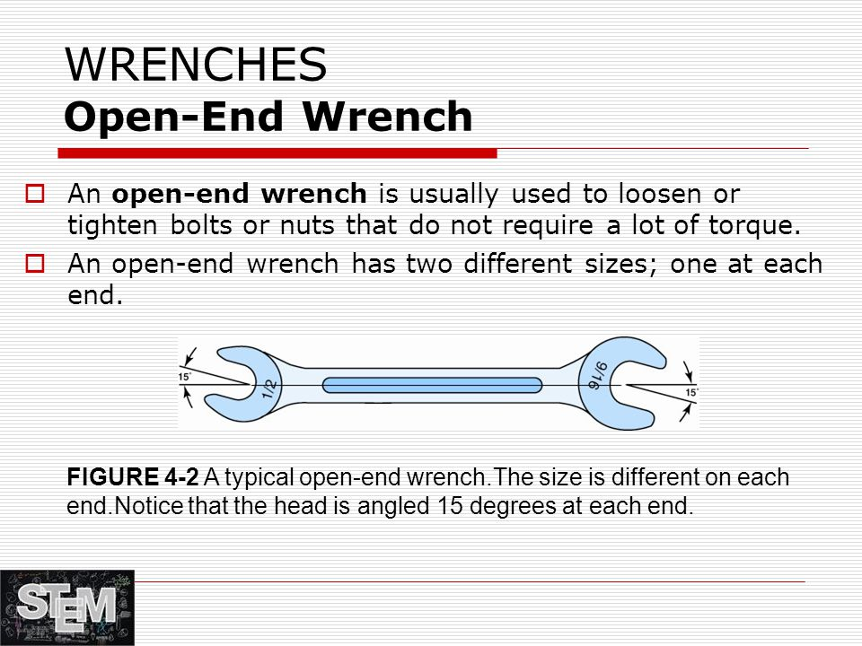 WRENCHES Open-End Wrench  An open-end wrench is usually used to loosen or tighten bolts or nuts that do not require a lot of torque.