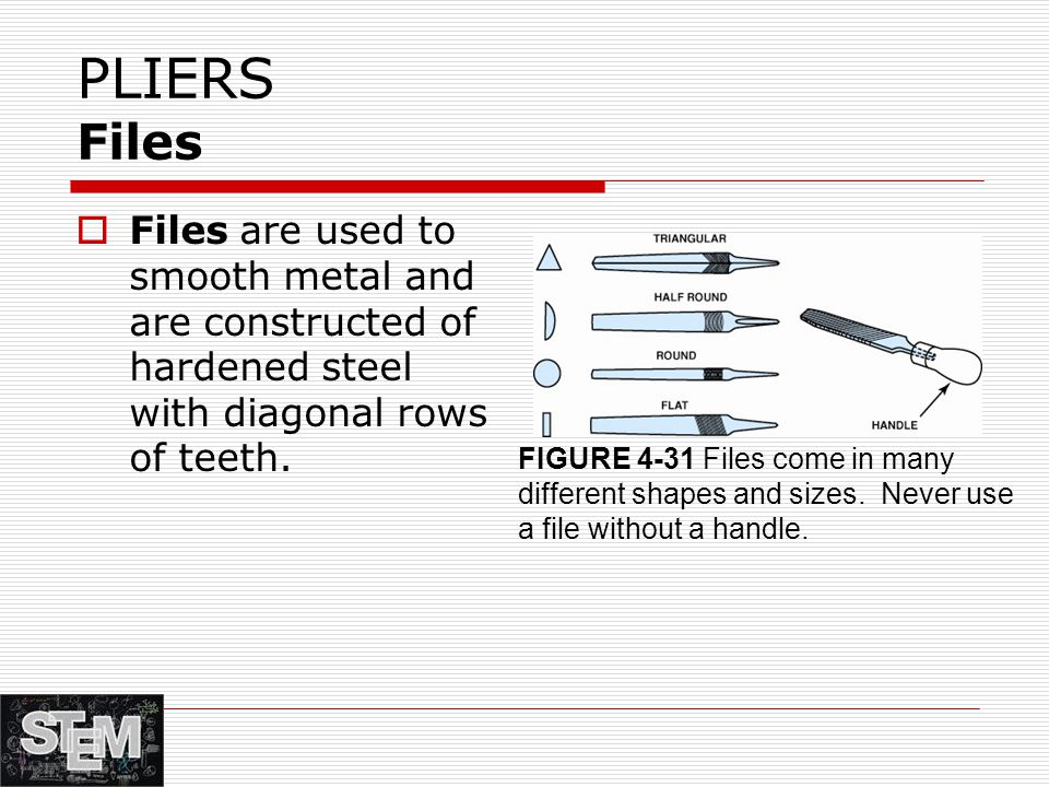 PLIERS Files  Files are used to smooth metal and are constructed of hardened steel with diagonal rows of teeth.