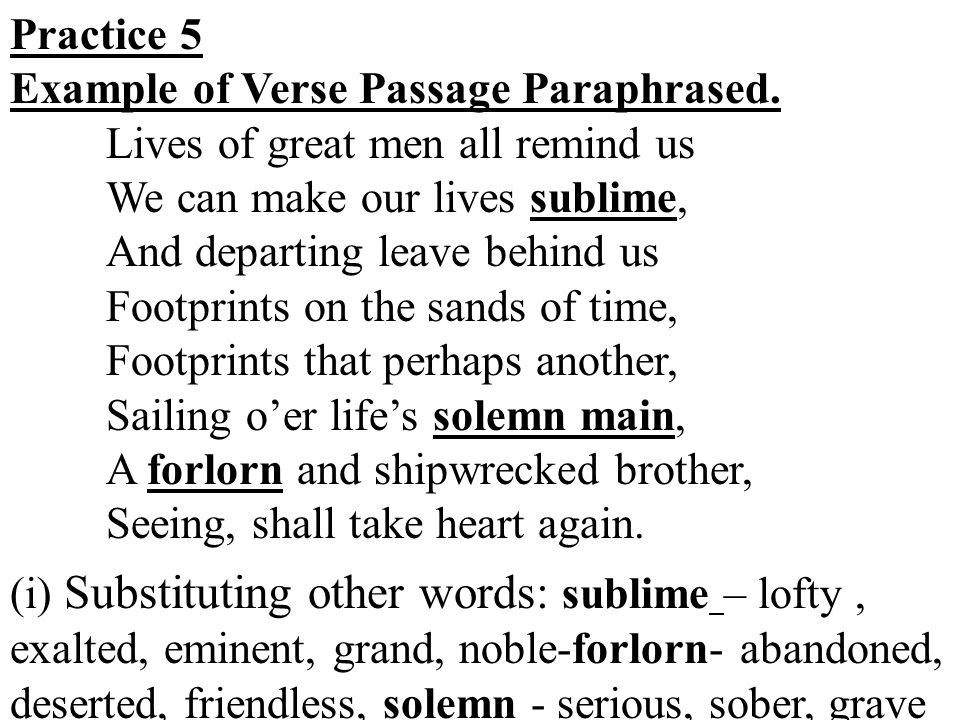 Practice 5 Example of Verse Passage Paraphrased.
