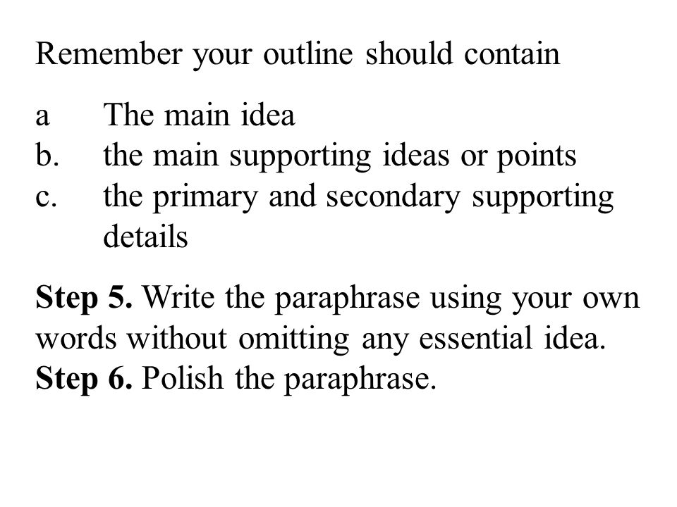 Remember your outline should contain a The main idea b.