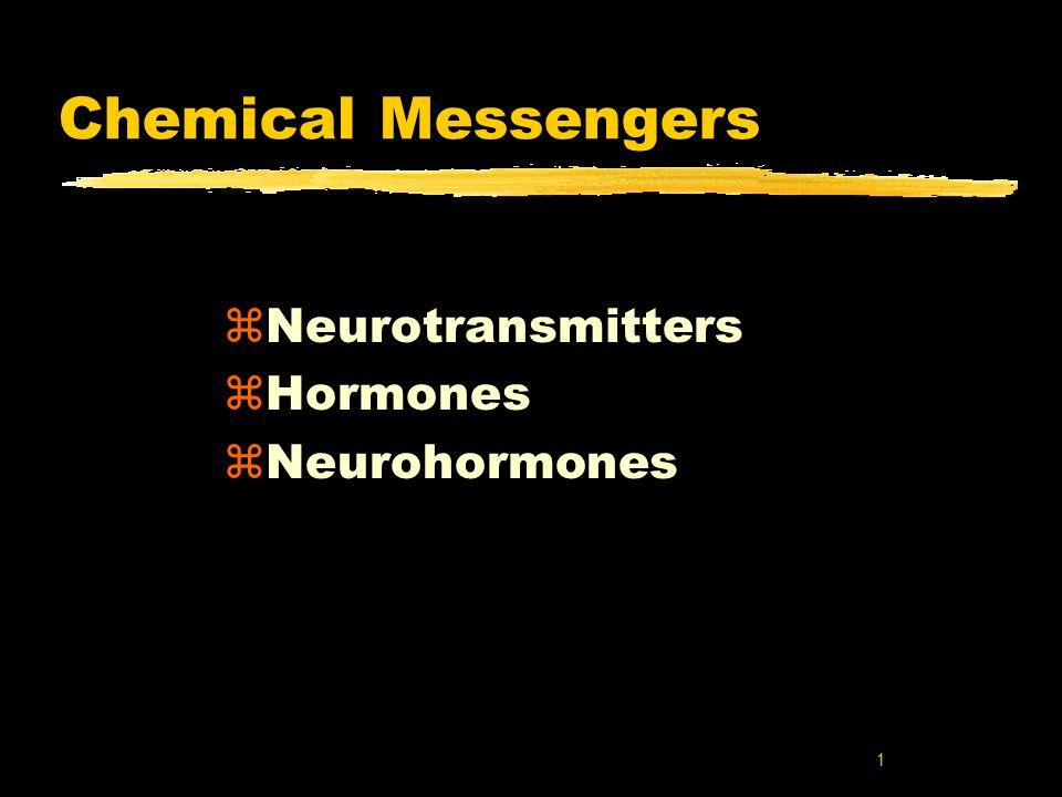 1 Chemical Messengers zNeurotransmitters zHormones zNeurohormones