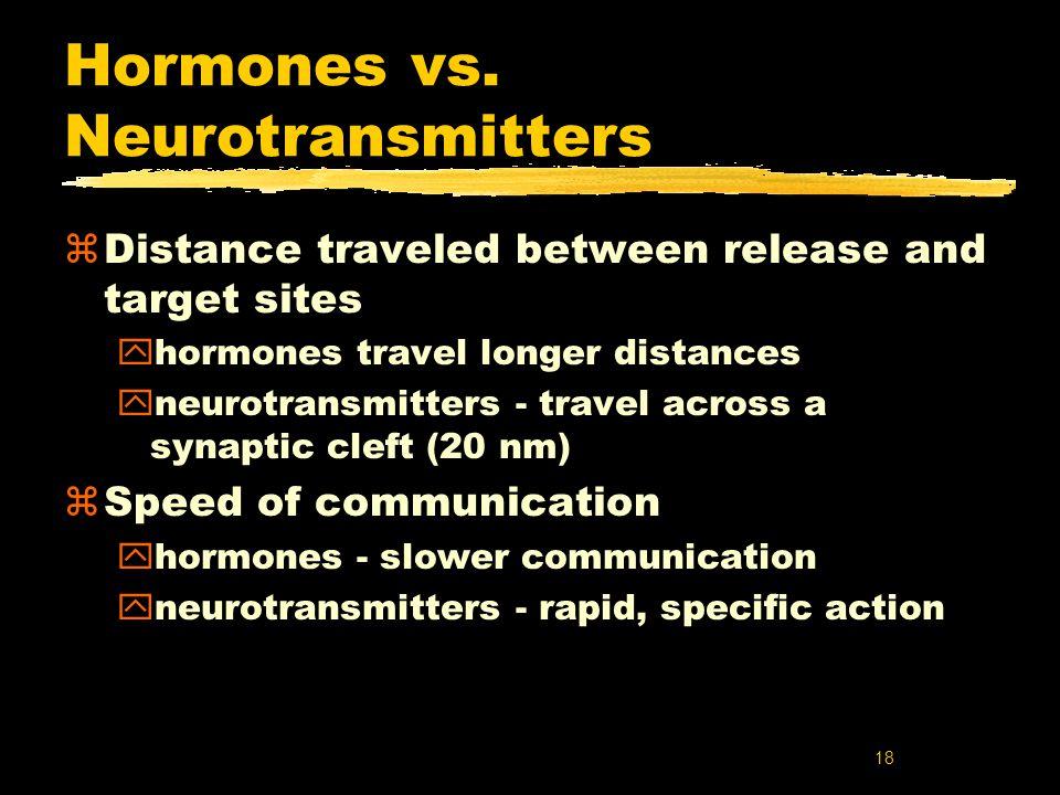 18 Hormones vs. Neurotransmitters zDistance traveled between release and target sites yhormones travel longer distances yneurotransmitters - travel ac