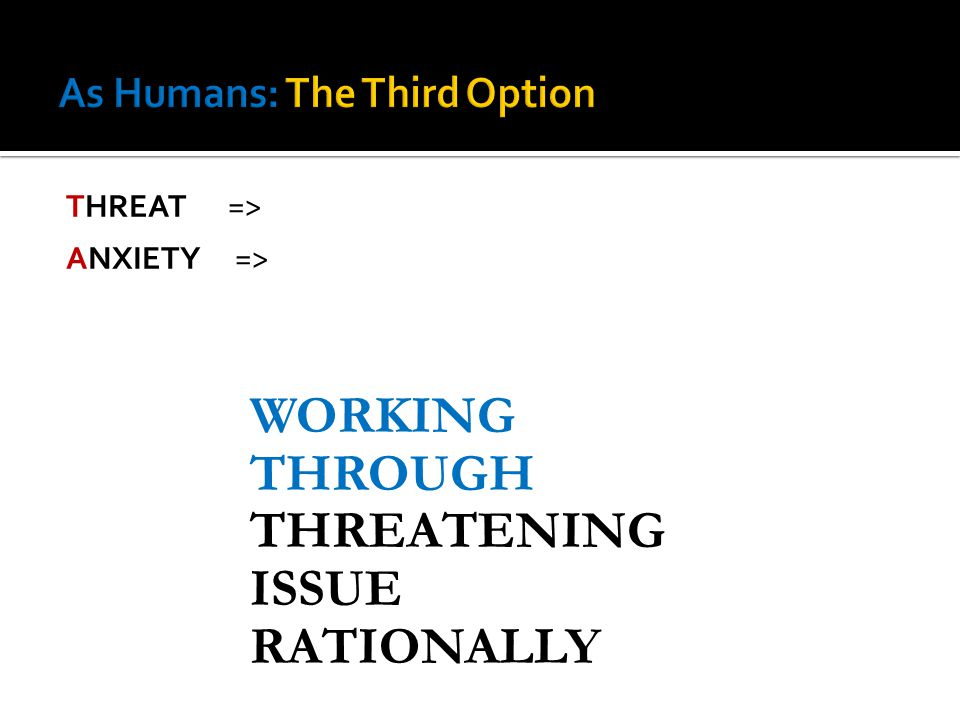 THREAT => ANXIETY => WORKING THROUGH THREATENING ISSUE RATIONALLY
