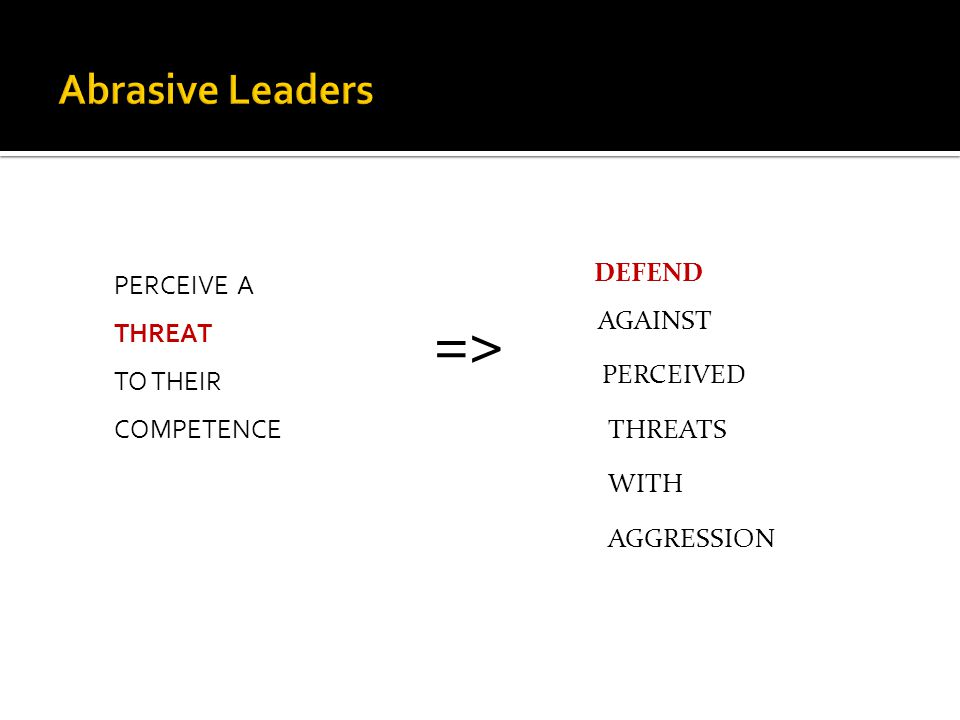PERCEIVE A THREAT TO THEIR COMPETENCE => DEFEND AGAINST PERCEIVED THREATS WITH AGGRESSION
