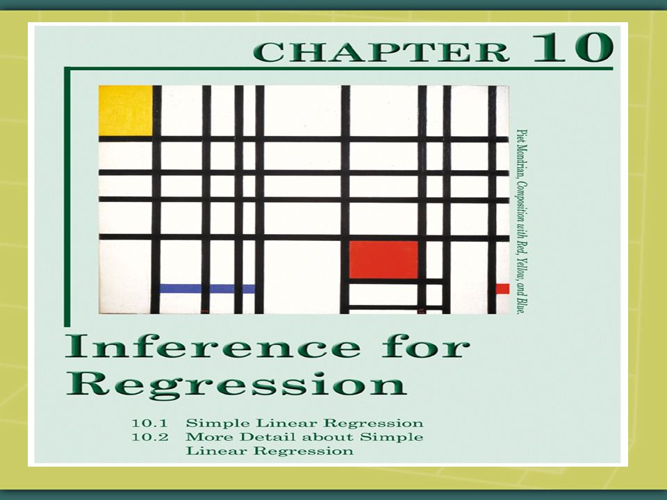  The simple linear regression model assumes that the mean of the outcome variable is a linear function of one explanatory variable.