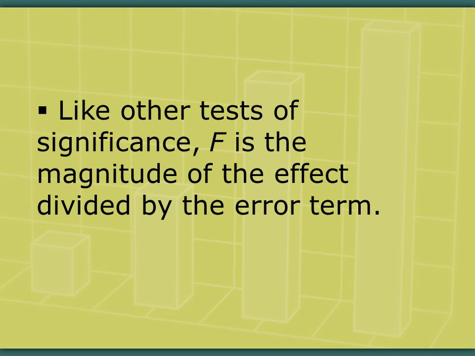  Like other tests of significance, F is the magnitude of the effect divided by the error term.