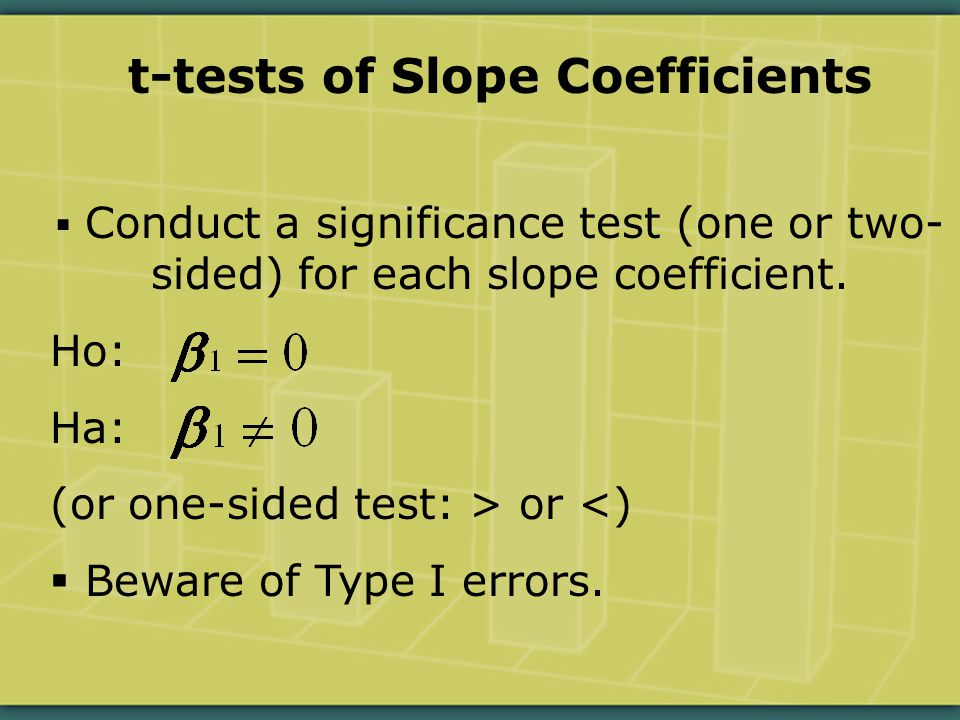 t-tests of Slope Coefficients  Conduct a significance test (one or two- sided) for each slope coefficient.