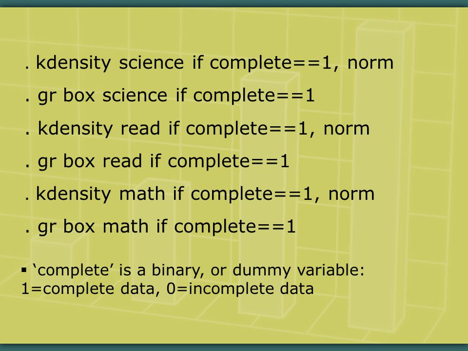 kdensity science if complete==1, norm. gr box science if complete==1.