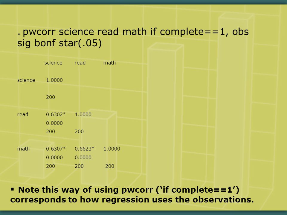 . pwcorr science read math if complete==1, obs sig bonf star(.05) sciencereadmath science1.0000 200 read0.6302*1.0000 0.0000200 math0.6307*0.6623*1.00000.0000 200200 200  Note this way of using pwcorr ('if complete==1') corresponds to how regression uses the observations.