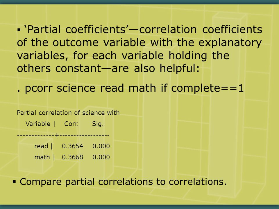  'Partial coefficients'—correlation coefficients of the outcome variable with the explanatory variables, for each variable holding the others constant—are also helpful:.