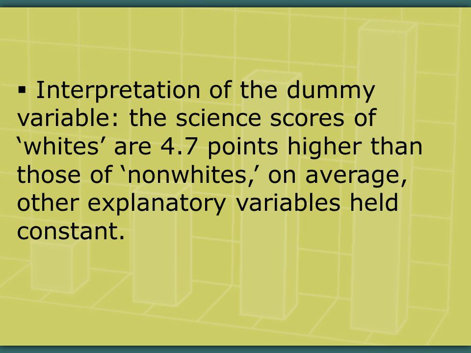  Interpretation of the dummy variable: the science scores of 'whites' are 4.7 points higher than those of 'nonwhites,' on average, other explanatory variables held constant.