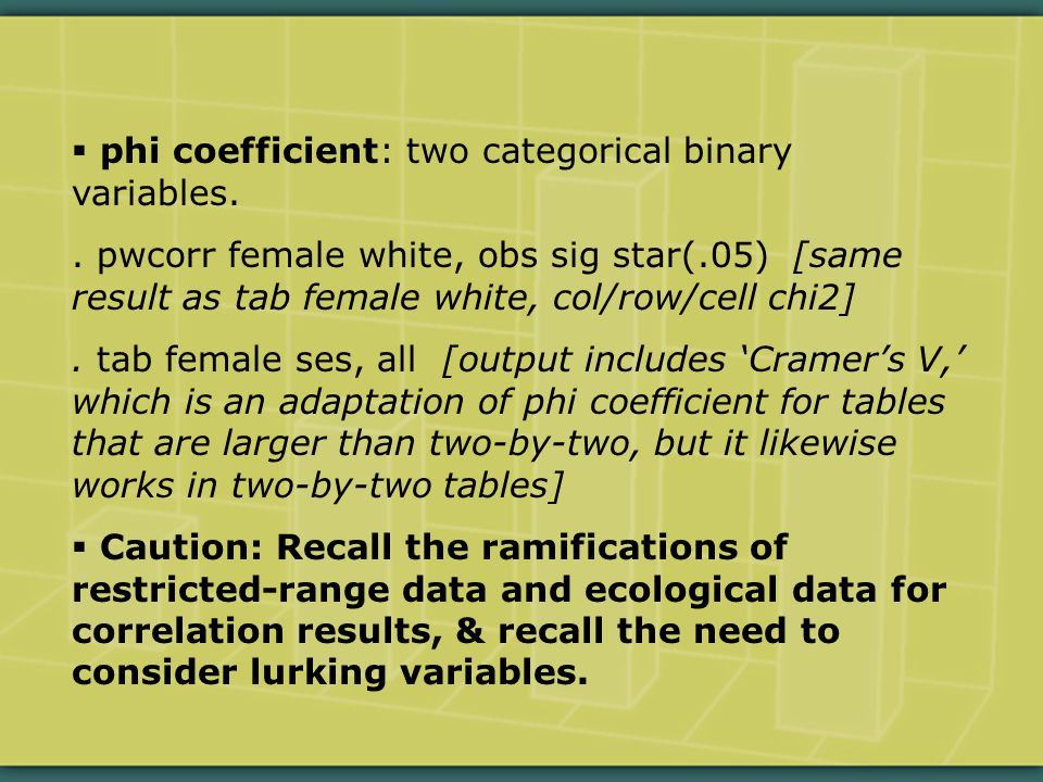  phi coefficient: two categorical binary variables..