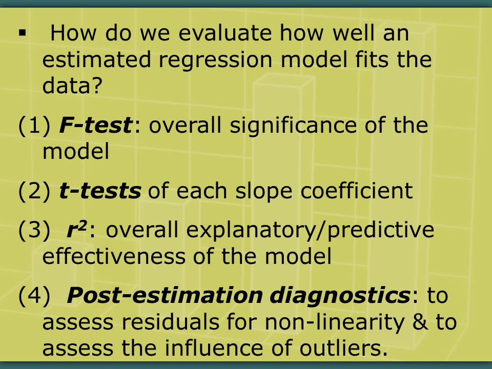  How do we evaluate how well an estimated regression model fits the data.