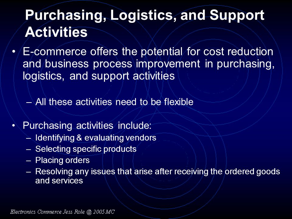 Purchasing, Logistics, and Support Activities E-commerce offers the potential for cost reduction and business process improvement in purchasing, logistics, and support activities –All these activities need to be flexible Purchasing activities include: –Identifying & evaluating vendors –Selecting specific products –Placing orders –Resolving any issues that arise after receiving the ordered goods and services