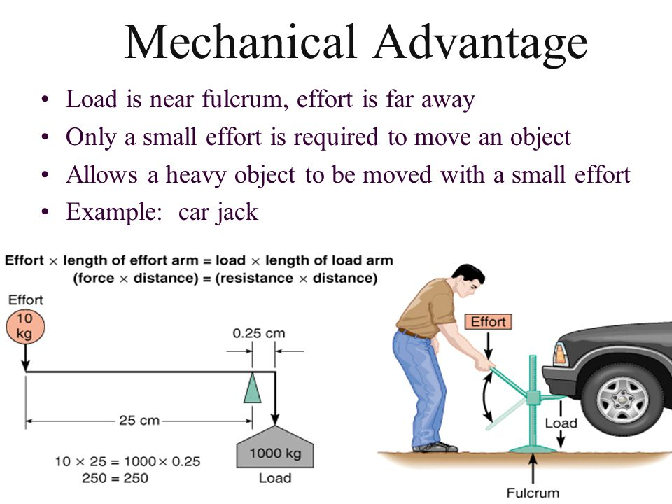 Mechanical Disadvantage Load is far from the fulcrum, effort is near the fulcrum –a large effort is required to move the object –allows object to be moved rapidly, a speed lever –throwing a baseball