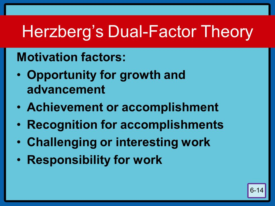 6-14 Herzberg's Dual-Factor Theory Motivation factors: Opportunity for growth and advancement Achievement or accomplishment Recognition for accomplish