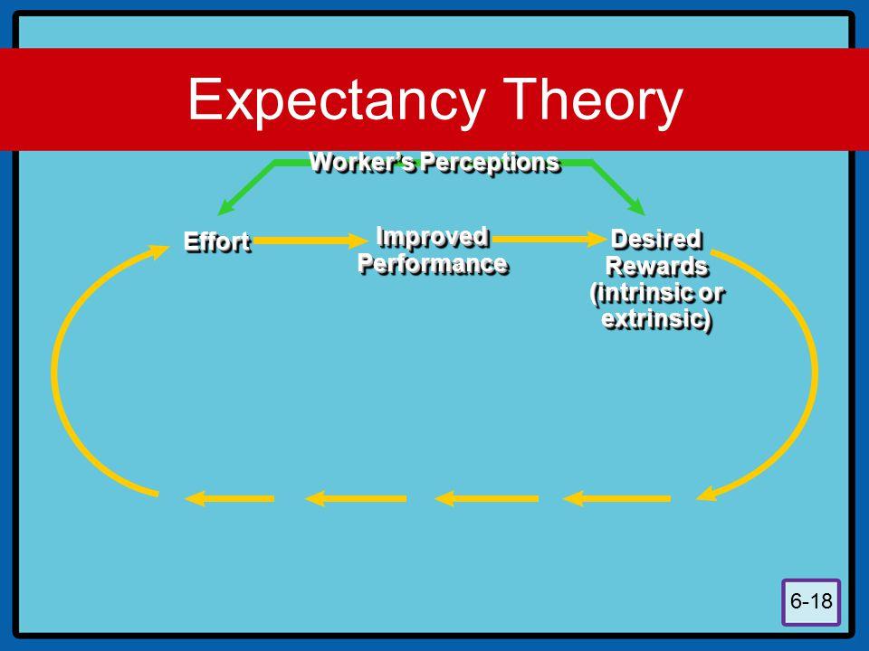 6-18 EffortEffort ImprovedPerformanceImprovedPerformance DesiredRewards (intrinsic or extrinsic)DesiredRewards extrinsic) Worker's Perceptions Expecta