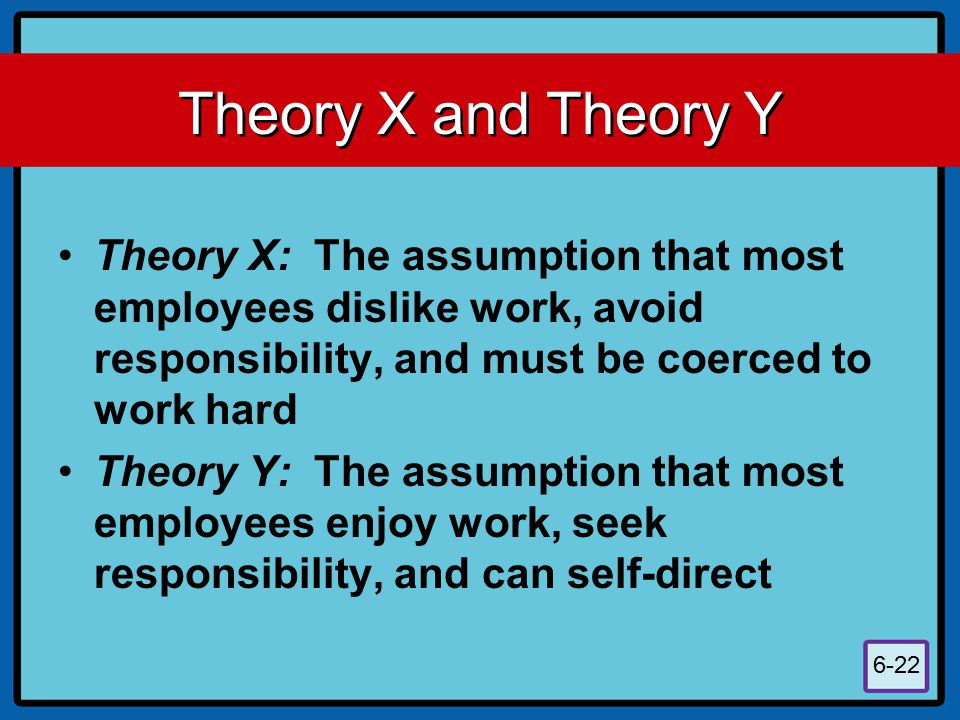6-22 Theory X and Theory Y Theory X: The assumption that most employees dislike work, avoid responsibility, and must be coerced to work hard Theory Y: