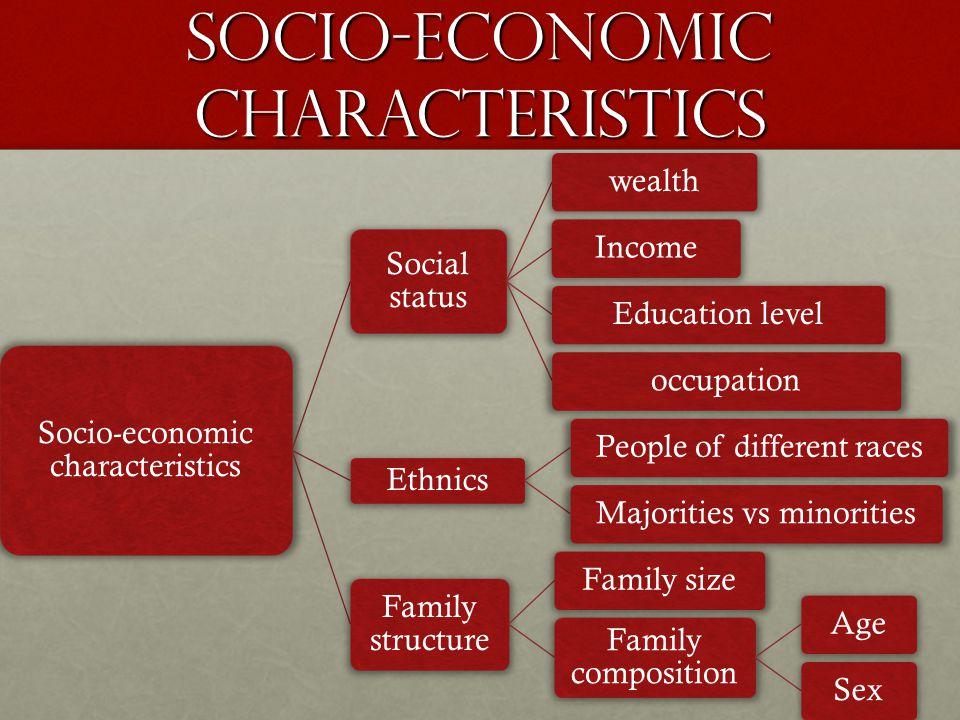 Socio-economic characteristics Social status wealthIncomeEducation leveloccupation Ethnics People of different racesMajorities vs minorities Family st