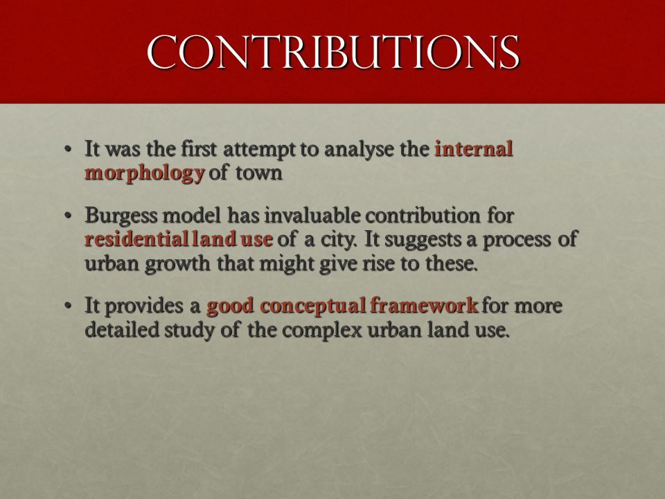 Contributions It was the first attempt to analyse the internal morphology of townIt was the first attempt to analyse the internal morphology of town B