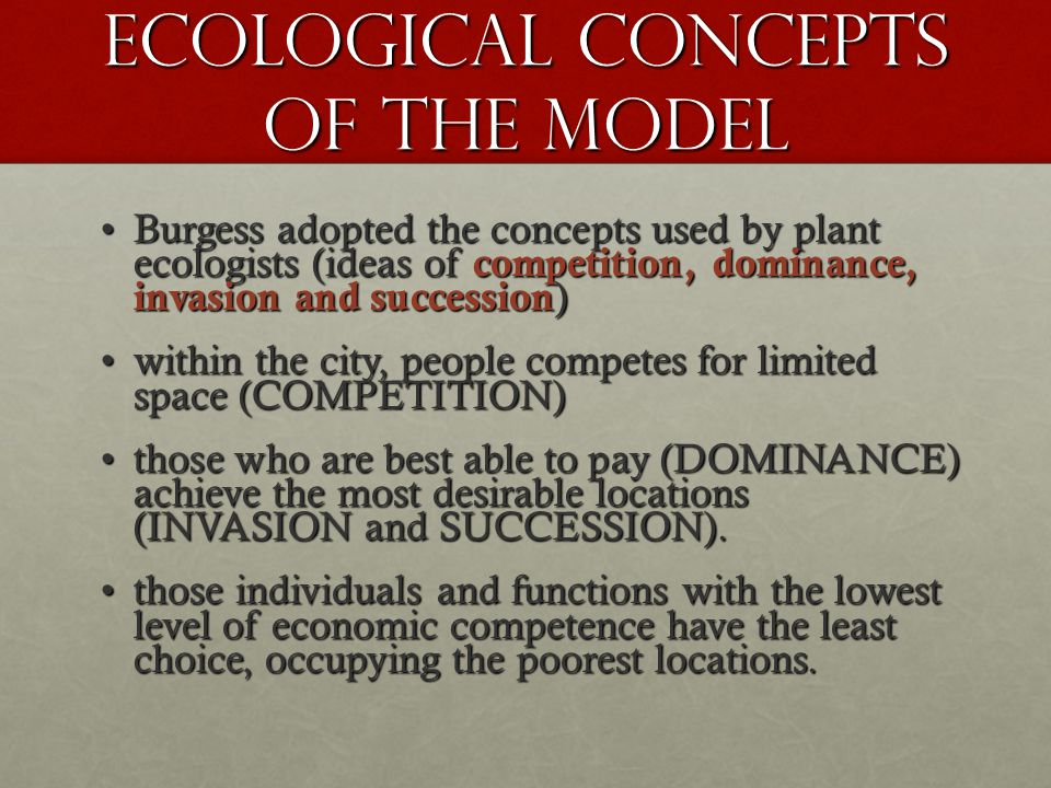 ECOLOGICAL Concepts of the model Burgess adopted the concepts used by plant ecologists (ideas of competition, dominance, invasion and succession )Burg