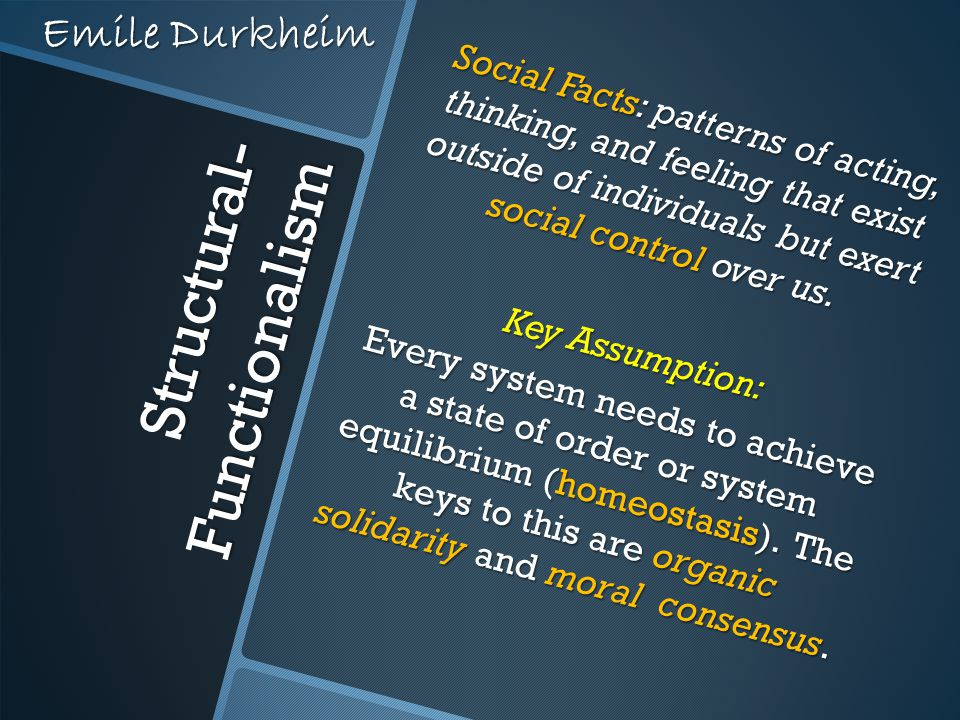 Structural- Functionalism Social Facts: patterns of acting, thinking, and feeling that exist outside of individuals but exert social control over us.