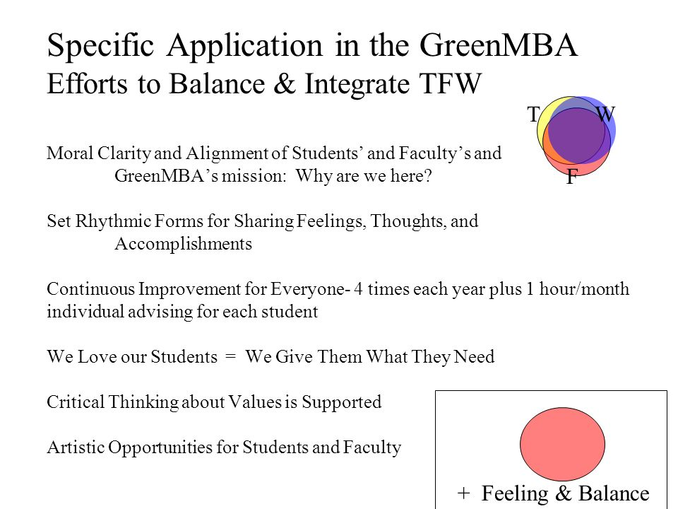 Specific Application in the GreenMBA Efforts to Balance & Integrate TFW Moral Clarity and Alignment of Students' and Faculty's and GreenMBA's mission: Why are we here.