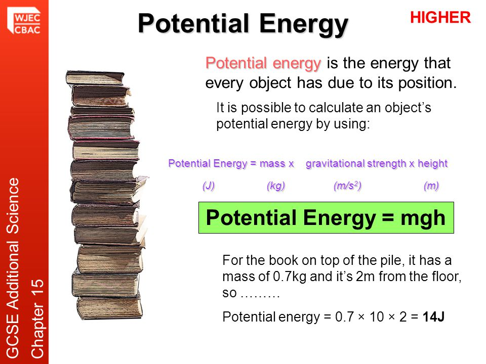 Potential Energy Potential energy Potential energy is the energy that every object has due to its position. Potential Energy = mass x gravitational st