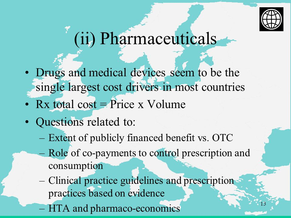 13 (ii) Pharmaceuticals Drugs and medical devices seem to be the single largest cost drivers in most countries Rx total cost = Price x Volume Questions related to: –Extent of publicly financed benefit vs.