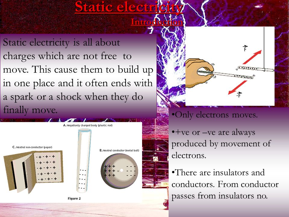 Static electricity Introduction Static electricity is all about charges which are not free to move.